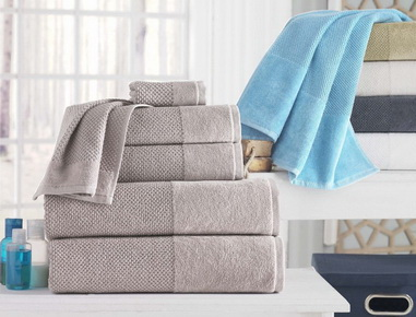 Maxi bath sheets, bath towels, hand towels, face towels, guest towels, bath mats, bath gloves in any colour, terry loop or velour, with or without borders, embroideried or printed borders.