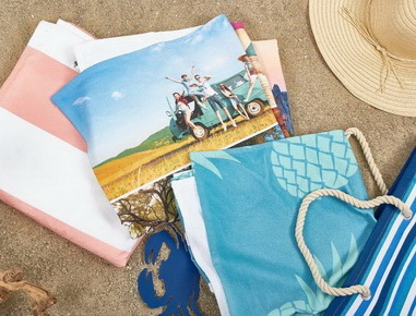 Printed or yarn dyed jacquard beach towels, beach bags, towel bags, pareos